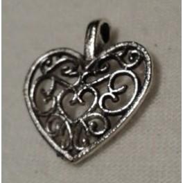 Metalni privesci mali  filigransko srce boja nikla