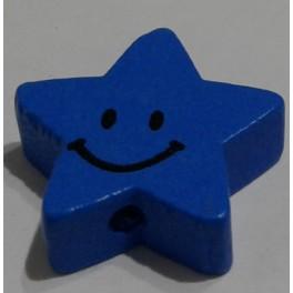 Drvena perla zvezda+smajli 20 mm plava