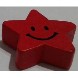 Drvena perla zvezda+smajli 20 mm crvena