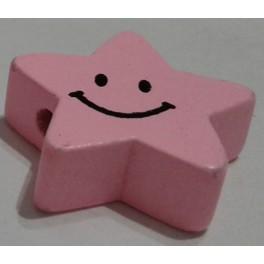 Drvena perla zvezda+smajli roze