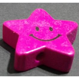 Drvena perla zvezda+smajli ciklama