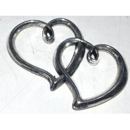 Metalni privesci mali  2 vezana srca inox
