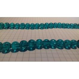 Ispucale staklene perle kugla 8 mm tirkiz-niska 40 cm